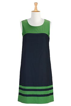 Colorblock poplin shift dress