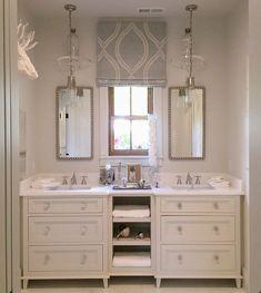 Bathroom white vanity modern powder rooms 23 Ideas for 2019 Dream Bathrooms, Beautiful Bathrooms, Spa Bathrooms, White Bathrooms, Modern Bathrooms, Beautiful Kitchen, White Vanity Bathroom, Small Bathroom, Bathroom Wall
