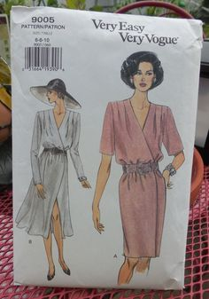 Vogue 9005  Faux Wrap Dress with 1940s Style  by Clutterina