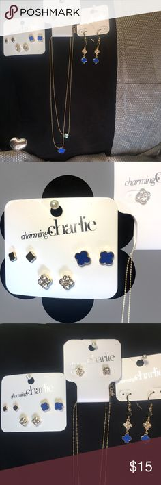 """Charming Charlie Jewelry Trio Blue and Gold clover jewelry from charming Charlie's. Four studs, one pair of dangling earrings, and one layered looking necklace- two strands but one necklace. Upper strand measures 17.25"""" with a 2.5"""" extender Charming Charlie Jewelry"""