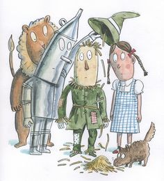 #WizardofOz #followtheyellowbrickroad #tinman #scarecrow #dorothy #thelion #toto #illustration #ReganDunnick #humorous #cartoon #offtoseethewizard #yellowbrickroad #lindgrensmith