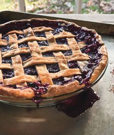 cranberry and wild blueberry pie. made this tonight with a crumble topping instead of lattice crust.