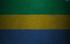 Download wallpapers Flag of Gabon, leather texture, 4k, Gabonese flag, Africa, world flags, flags of African countries, Gabon