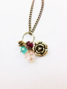 Upcycled Charm Necklace Purple teal and pink by Five17Designs, $18.00