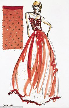 The original design sketch, which features in the new Diana: Her Fashion Story exhibition Fashion Story, Fashion Art, Retro Fashion, Diana Fashion, Royal Fashion, Princess Diana Dresses, Lady Diana Spencer, Princesa Diana, Fashion Sketches