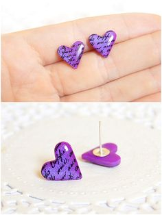 Valentine's day Gift Heart Earrings Purple Studs Cute Romantic Earring Tiny Heart earring Bridesmaid earring Petite wedding earring Sweet 16