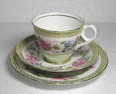 Vintage Royal Stafford Pastel green and floral Tea Trio