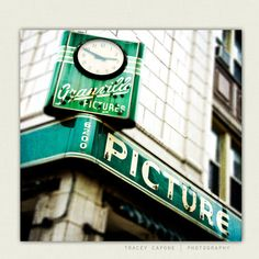 Vintage Sign art  Chicago print emerald green by TraceyCapone