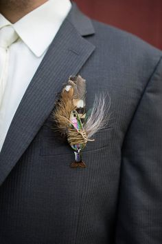 Rustic Wedding Fishing Boutonniere  Limited by HuberStudios