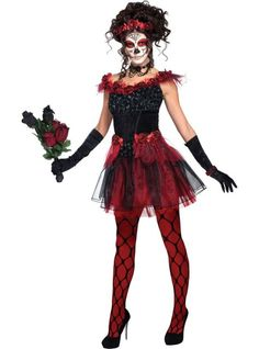 Adult Red Rose Sugar Skull Costume - Party City
