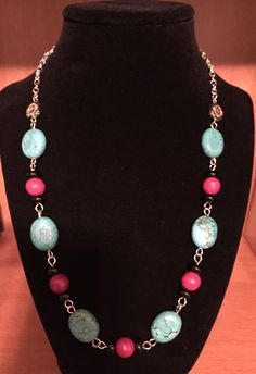 """20"""" Turquoise Howlite Necklace by JCCUSTOMSDESIGNS on Etsy"""