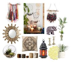 """My boho home"" by starmn ❤ liked on Polyvore featuring interior, interiors, interior design, home, home decor, interior decorating, Improvements, Cyan Design, Boho Boutique and Allstate Floral"
