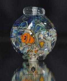 Decorative Fish Bowl Lampwork Pendant  - SRA Lorraine Dowdle