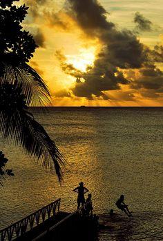 Sunset dip at Funafuti Atoll, Tuvalu