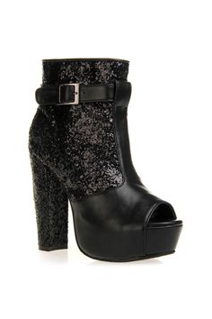 Paillette Detailed Black Ankle Boots [AS1412] - $143.99 :  romwe.com