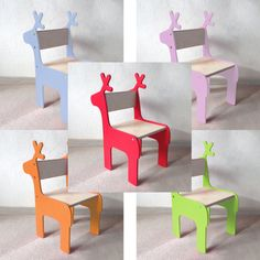 Order before 24th November for pre-Christmas delivery! This listing includes three items: Choose our toddler elephant chair plus one stag/ whale/ giraffe/ brontosaurus dinosaur chair and a table. - Choose from our giraffe, whale, stag or brontosaurus dinosaur childrens chair plus an elephant