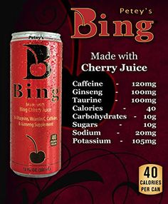 Petey's #Bing #Beverage, #12 #Ounce (Pack of 24) #24 Cans, #12 oz each of #Bing Black: A lightly carbonated, moderately caffeinated, juice-based #beverage Only 40 calories per can and only 10 grams of carbs #Bing Black is a supplement containing anti-oxidants, B-Vitamins, 100% Daily Value of Vitamin C, 122mg of Caffeine and Ginseng https://food.boutiquecloset.com/product/peteys-bing-beverage-12-ounce-pack-of-24/