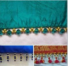 tassels for saree Saree Tassels Designs, Saree Kuchu Designs, Tassel Jewelry, Bead Jewellery, Beaded Embroidery, Embroidery Patterns, Embroidery Stitches, Saree With Belt, Beaded Necklace Patterns