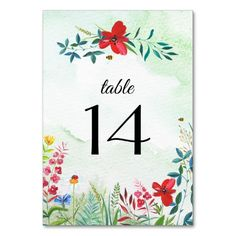 Wild Meadow | Summer Forest | Wildflowers Watercolor Painting Design Summer Wedding Table Number Cards. Matching Wedding Invitations, Bridal Shower Invitations, Save the Date Cards, Wedding Postage Stamps, Bridesmaid To Be Request Cards, Thank You Cards and other Wedding Stationery and Wedding Favors and Gifts available in the Seasonal | Summer Category of the Best Day Ever store at zazzle.com