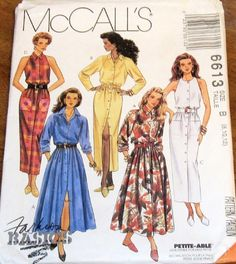 Vintage McCalls Fashion Basics Sewing Pattern. Misses Dress. Petite-able pattern is adjustable for misses and women 53 and under. Front buttoned dress has full or straight skirt with side seam pockets or patch pockets, and waistline seam casing for elastic. Views A, B have two piece raglan sleeves. Views C, D are sleeveless. Dresses with collars have a collar stand. Purchased belt, trims, notions and accessories.  Size : 8 10 12 Bust : 31-1/2 32-1/2 34 Waist : 24 25 26-1/2 Hip : 33-1/2…