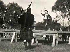 Berwick Caledonian Society Sports Meeting, Domain Ground, Berwick, Saturday Jan 1, 1949. Children perform highland dancing on platform in front of crowds.