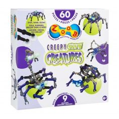 "Zoob+Creepy+Glow+Creatures+-+""They+hang,+they+crawl+and+they+stick+to+your+wall!+ZOOB+Creepy+Glow+Creatures+are+as+gross+and+scary+as+you+can+imagine,+because+they+come+from+your+imagination!+You+have+everything+you+need+to+turn+your+home+into+a+house+of+horrors+with+60+specially+colored+ZOOB+pieces,+plus+glow-in-the-dark+parts,+suction+cups,+string+and+instructions+to+build+8+creepy+creatures+including+spiders,+scorpions,+crabs+and+more.++-+$24.99"