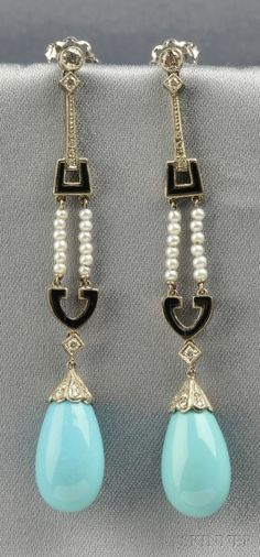 18kt White Gold, Turquoise, Onyx, and Seed Pearl Earpendants | Sale Number 2586B, Lot Number 662 | Skinner Auctioneers