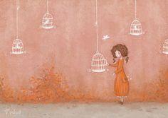 locked up. on Behance - Sasha Salmina Bird Illustration, Illustrations, Girly Pictures, Bird Art, Art Dolls, Paper Dolls, Watercolor Art, Character Art, Fantasy Art