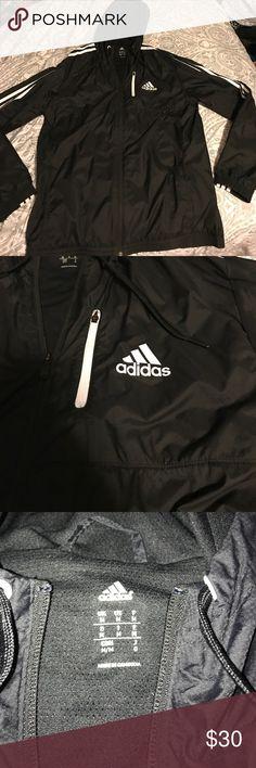 Black Adidas windbreaker Zip up windbreaker with hood and pockets. Men's size medium but it fit me just as good. Worn twice, 0 flaws! adidas Jackets & Coats Windbreakers