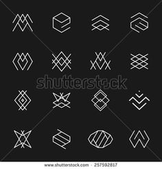 Hipster style icons, labels for logo design. Abstract geometric pattern shapes template, possible deconstruction.