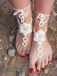 Hand made crocheted sexy barefoot sandals made out of 100% cotton yarn.      Hand wash lay flat to dry. This set is in stock and can be shipped