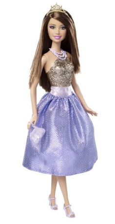 Barbie Modern Princess Party Doll - Teresa Purple and Gold Dress . Barbie Wedding Dress, Barbie Dress, Barbie Toys, Barbie Clothes, Prom Dresses, Formal Dresses, Wedding Dresses, Purple And Gold Dress, Baby Doll Nursery
