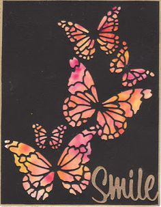 hand crafted card from Kapp Kards ... Memory Box butterfles die cuts create negative space in black card front ... hot colors created with watercolor crystal glowing from behind ... luv it!
