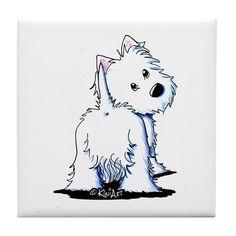 KiniArt Fluffybutt Westie Tile Coaster on CafePress.com