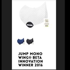 JUMP MONO WING®. BETA International Innovation WINNER 2016. This is the original contour spine saddle pad that inspired the revolution! Voted 'SUPERIOR to conventional pads' by Horse & Hound Magazine 2016. ☑️🎉