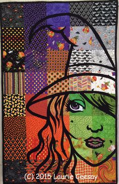 Witch quilt by Laurie Ceesay | Artsy Chick Quilts: Halloween Trick & Treats Forum at IQF Houston 2015