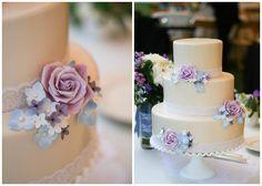 Erica OBrien Cake Design   Lace cake with lavender sugar flowers