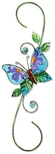 Sunset Vista Designs Metal Glass Decorative Plant Hook, Butterfly for sale Lawn And Garden, Garden Pots, Home And Garden, Garden Ideas, Plant Hooks, Washer Necklace, Pendant Necklace, Humming Bird Feeders, Wine Charms
