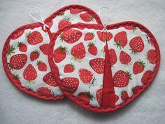 Heart   shaped Pot holder hot pad set by KellettKreations on Etsy