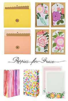 Lots of pretty paper treasures at Poppies for Grace including some cheerful lolly bags, colourful string and tie envelopes and a gorgeous 'rose garden' swing tag box and writing set.