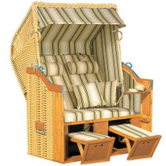 The Genuine Baltic Coast Strandkorb - Hammacher Schlemmer. I saw these on the Baltic in Germany and thought that they were so smart. Lawn Chairs, Outdoor Chairs, Adirondack Chairs, Outdoor Patios, Room Chairs, Interior Exterior, Interior Design, Beach Basket, Haus Am See