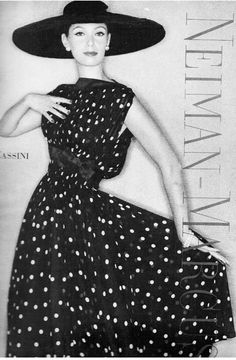 Oleg Cassini-polka dot chiffon dress  Vogue 1957, Clifford Coffin photographer