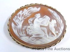 Antique 14K Gold Carved Cameo Cherub Fairy Lyre Garden Brooch Pendant Pin