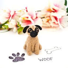 Needle felted pug Pug ornament Pug figurine Pug by CraftsByKeri, $30.00