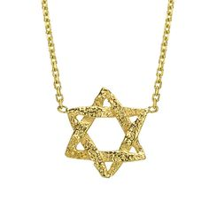 Gold Star Of David Necklace Delicate Star Of by BinahJewelry