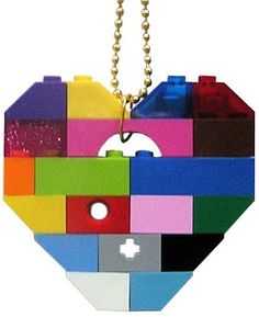 Playful colorful necklace  Chunky heart от MademoiselleAlma
