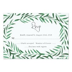 Green Leaves Greenery Garden Wedding RSVP Card handpainted Make your day special with these unique ideal for your wedding and Wedding Rsvp, Wedding Invitations, Wedding Pins, Wedding Response Cards, Party Fashion, Green Leaves, Garden Wedding, Invitation Cards, Special Events