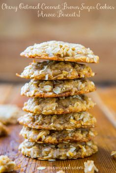 Chewy Oatmeal Coconut Brown Sugar Cookies Anzac Biscuits - Soft, Chewy, Easy, No-Egg, No-Mixer cookie recipe!!