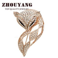 ZHOUYANG Top Quality ZYX009 Elegant Charm fox  Rose Gold Color Brooches Jewelry Austrian Crystal Wholesale #Affiliate