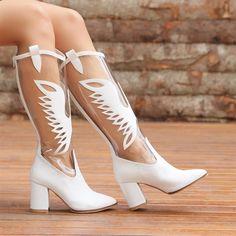 Gardabani Şeffaf Beyaz Diz Altı Western Çizme  #white #western #heels #boots #longboots #beyaz #kovboy #topuklu #çizme Western Boots, Shoes, Fashion, Moda, Zapatos, Shoes Outlet, Fashion Styles, Shoe, Footwear
